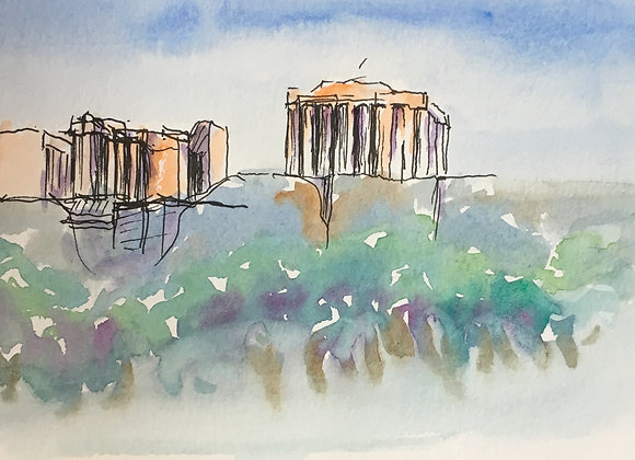 Watercolor and ink sketch of acropolis, Athens.