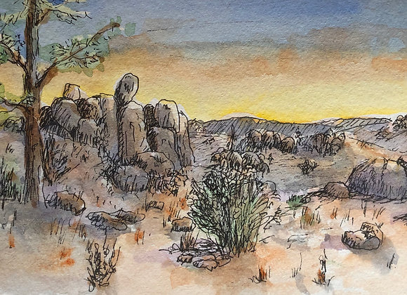 Watercolor, ink southwest sunset
