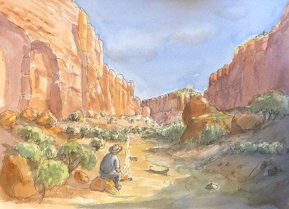 Watercolor Canyon Campfire