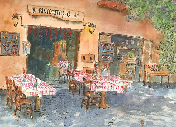 Watercolor painting of resturant in Rome