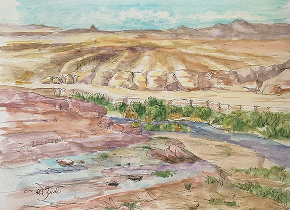 Watercolor and Ink of Lake Meade