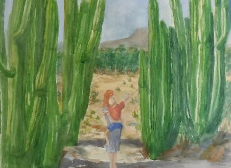 Watercolor Painting Saguaro cactus