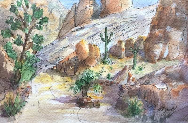 watercolor painting of canyon