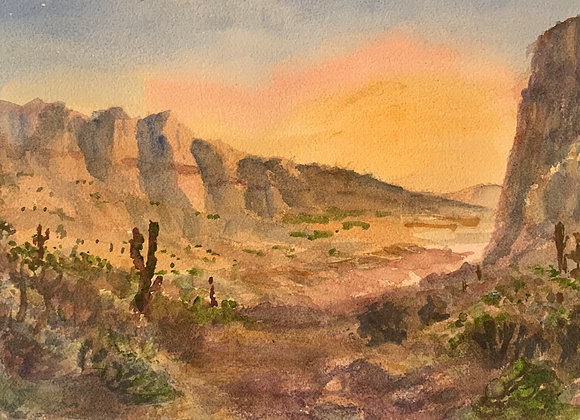 Watercolor desert painting
