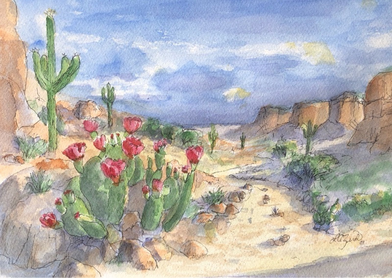 watercolor of catus flower