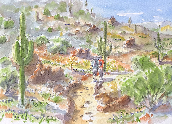 Watercolor desert walk