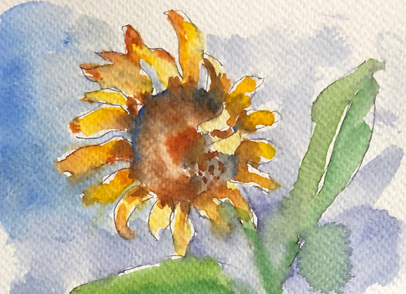 Watercolor flower postcard