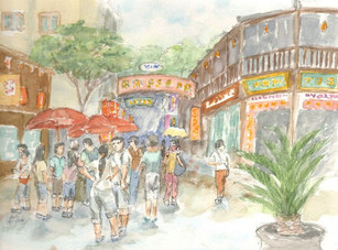 Watercolor painting In Hangzhou china