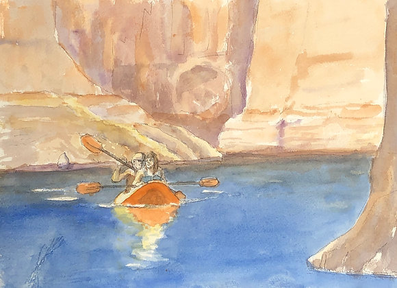 Watercolor kayaks