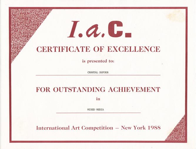 1988, diplome IAC New York