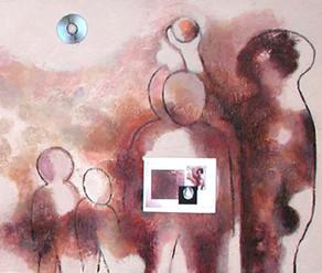 Homo Sapiens, installation artistique associant une image fixe peinte à des images mobiles (diaporamas) sur l'Homme, la Mémoire et le Temps.