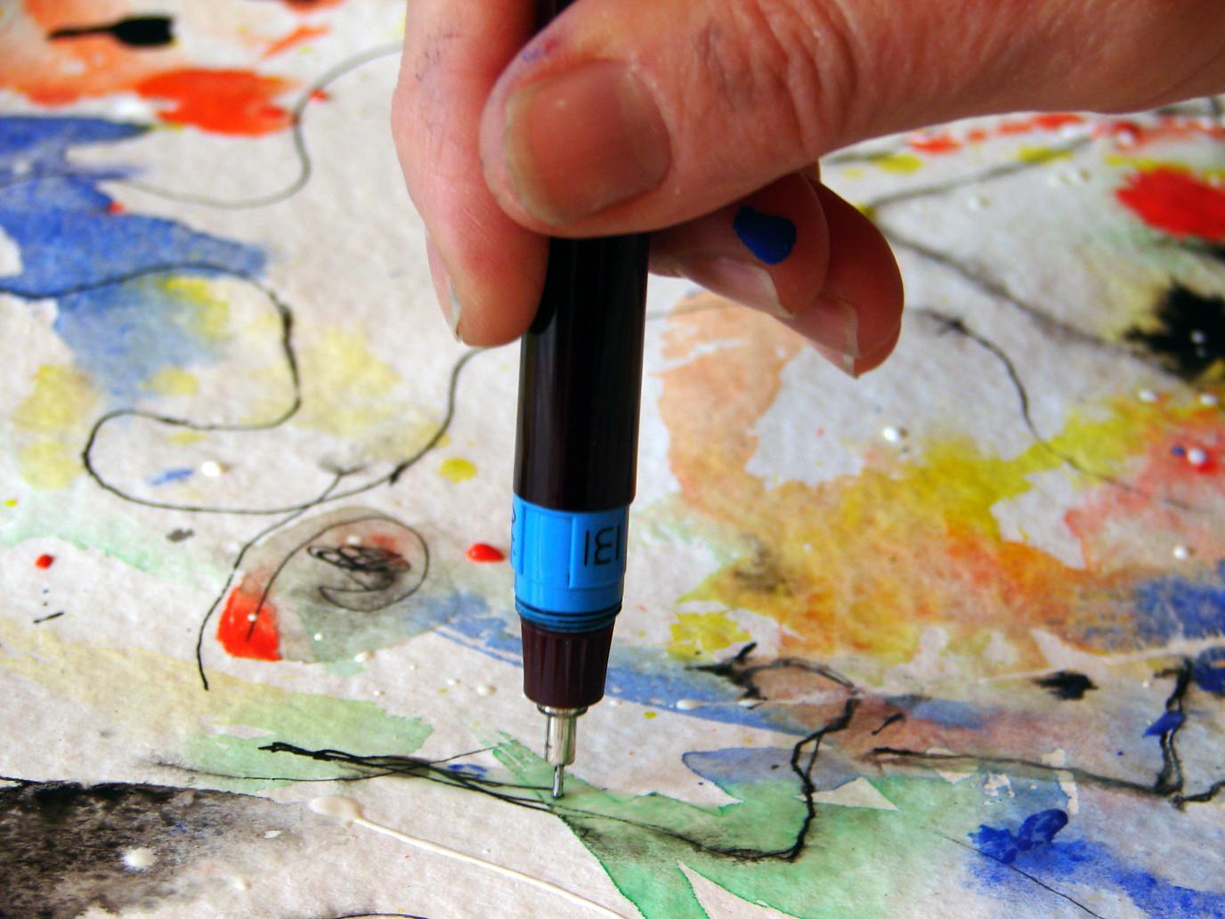 Encre, aquarelle, acrylique