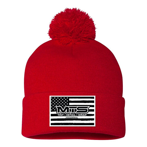 MTS Flag Red Pom Beanie