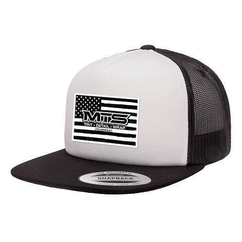 MTS Flag White/Black Foam Trucker Hat