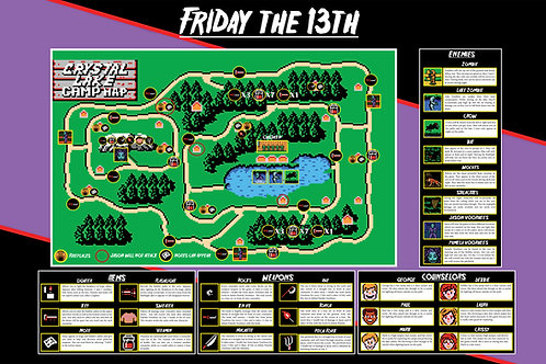 Friday the 13th NES Map (Digital Download)
