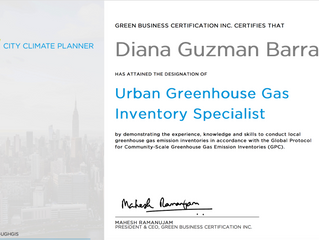 Urban Greenhouse Gas Inventory Specialist Credential earned