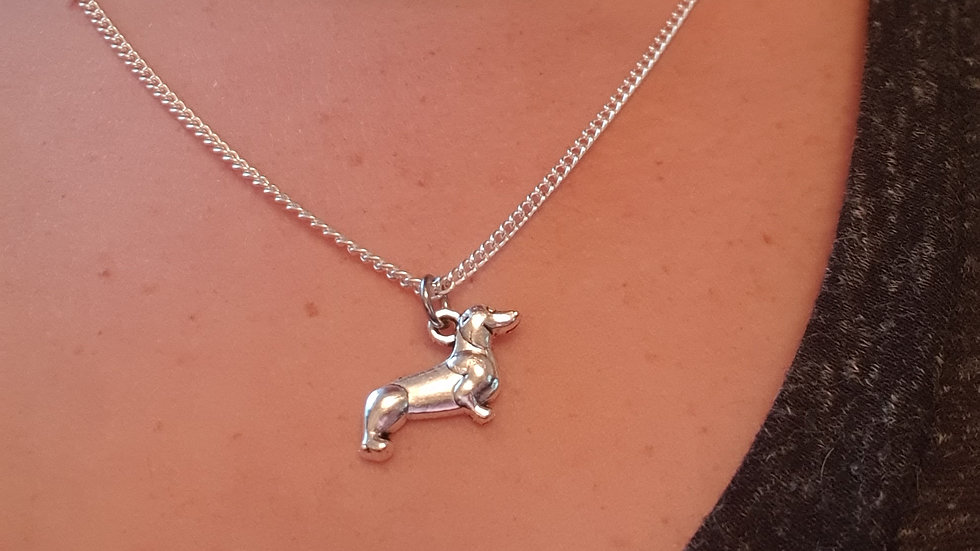 Dachshund charm sterling silver or plated chain