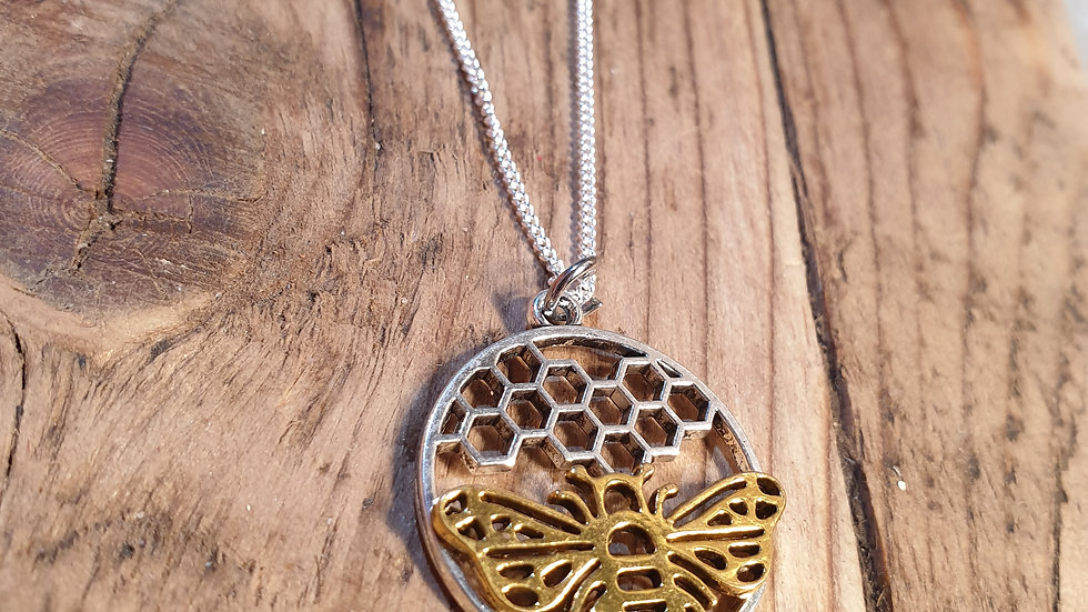 Bumble bee necklace sterling silver chain