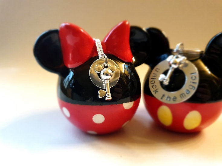 Disney washer mouse key charm on a sterling silver chain