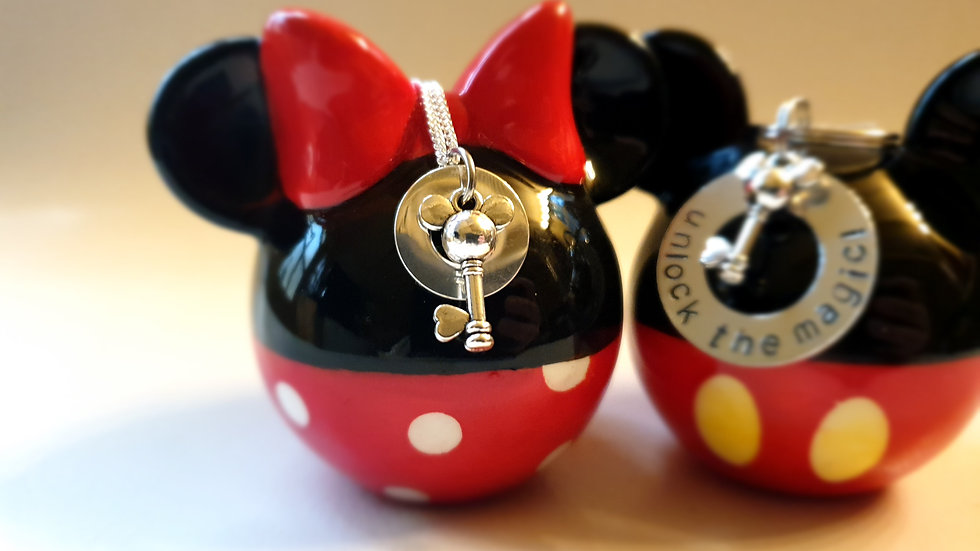 Disney washer mouse key charm necklace sterling silver