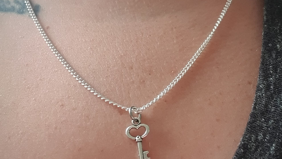 Key charm sterling silver or plated chain