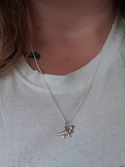 Trex charm on a sterling silver or plated chain