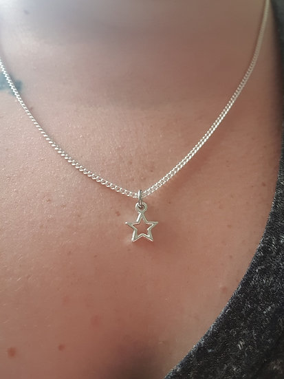 Star charm on a sterling silver or plated chain