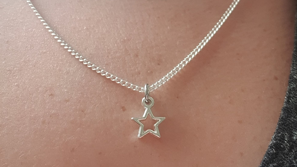 Star charm sterling silver or plated chain