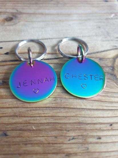 Rainbow keyring tag