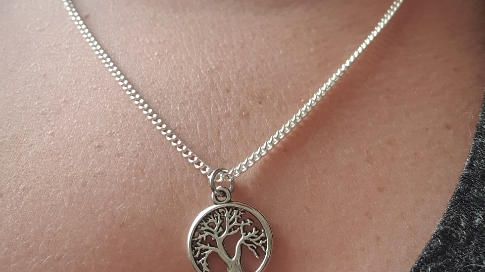 Tree of life charm sterling silver or plated chain