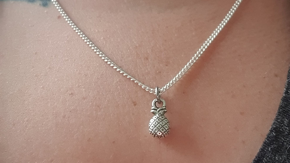 Pineapple charm sterling silver or plated chain