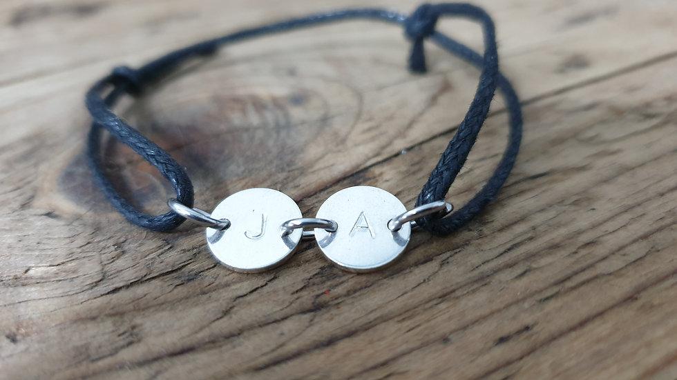 Adjustable sterling silver initial bracelet