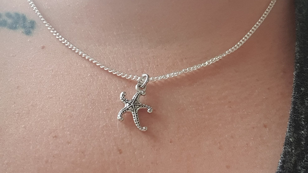 Starfish charm sterling silver or plated chain
