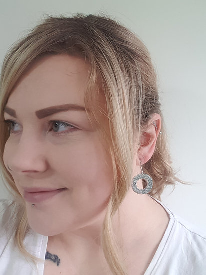 Hammered washer earrings