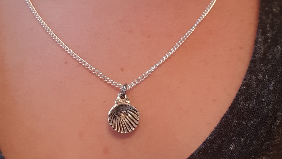 Shell charm sterling silver or plated chain