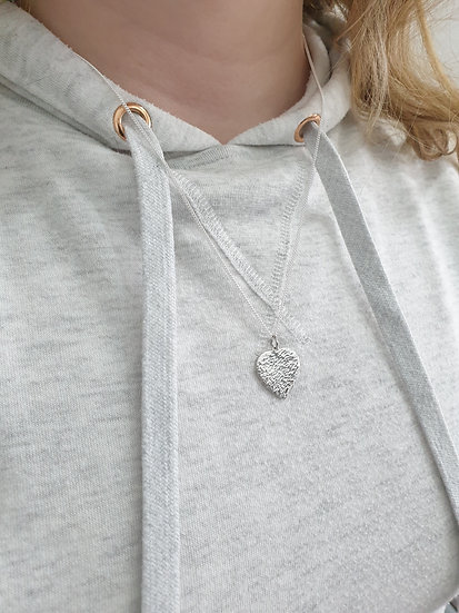 20mm hammered heart sterling silver necklace