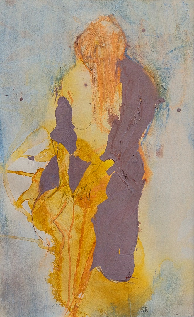 2017 size 40 x 24, Mixed media on Paper, Seated Nude_edited