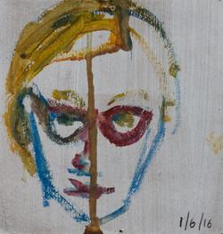 2017, 9 x 9 cm, Faces, Small Faces 4