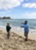 Learning the basics of fishing on Porthcurno Beach