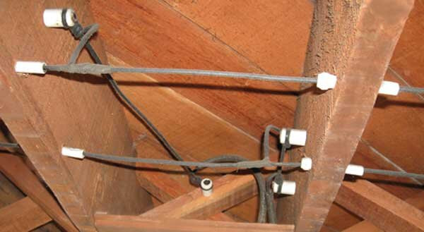An example of knob and tube wiring