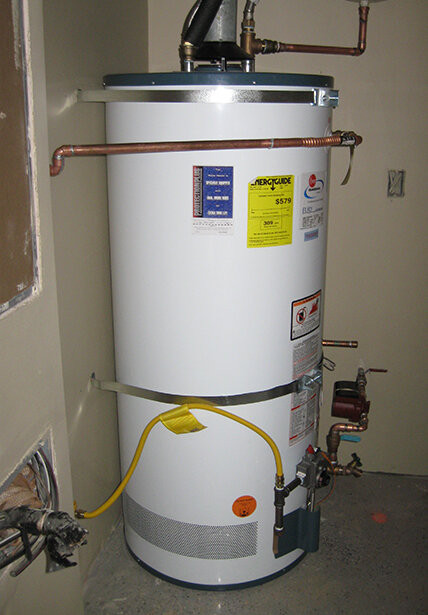 Example of a hot water heater storage tank.