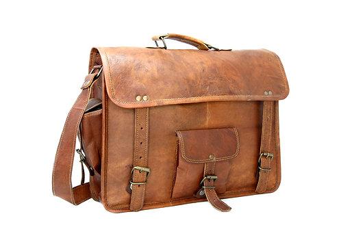 Three Pocket Vintage Style Laptop Bag