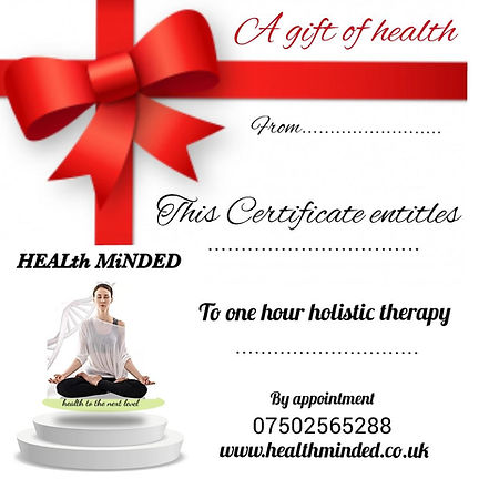 thumbnail1111111111112222222333333.jpg A gift of health certificate to one hour holistic therapy. A gift that benefits health can have lasting impact. I would suit someone who wouldn't normally purchase such an item or doesn't know available options. Health really is a gift. Encourage healthier lifestyle and habits in other. Start building a more healthfull future. You can change someone's future for the better by getting them to take personal responsability for their physical future.  Gift cards available now from only £49 for one hour therapy session. Please contact me for more details. The gift card covers one therapy by choice: Reiki, Reflexology, Meditation, Thermoauricular therapy, Shiatsu, Holistic massage, Iridology, Quantum magnetic analyser.