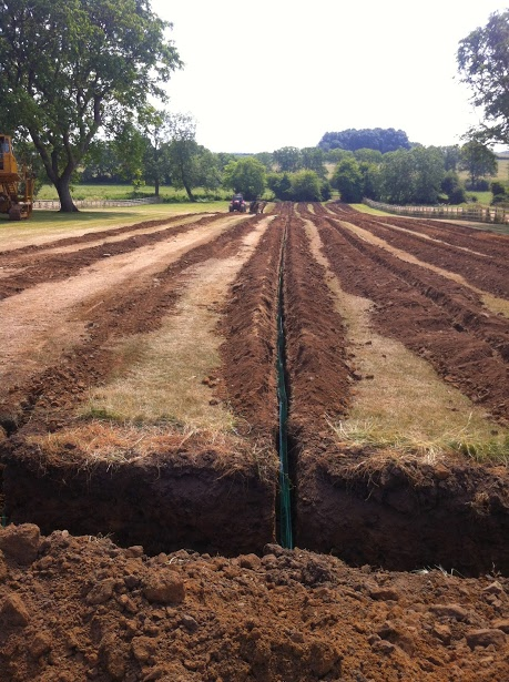 Open trenches with the ground loop