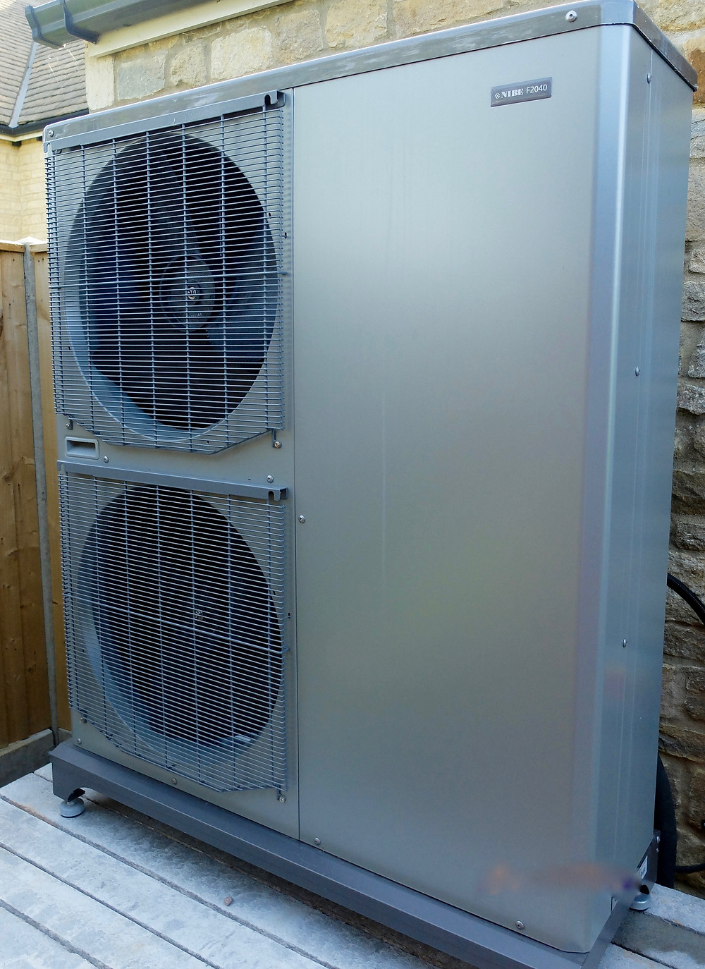 This is the highest capacity Nibe air source heat pump (16kW) installed recently at the rear of a large family home.