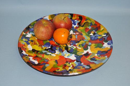 Prato Eire em cerâmica com esmaltação multicolorida peça feita a mão