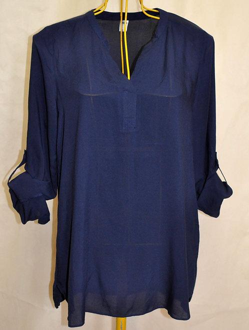 blusa longa G azul marinho, bata azul marinho manga longa, brechó très chic, brechotreschic, brechó online, roupas, batas,