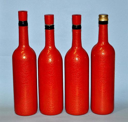 objetos para o guá do sucesso, garrafa vermelha e dourado, garrafas, guá do sucesso, objetos decorativos, Sueli Finoto