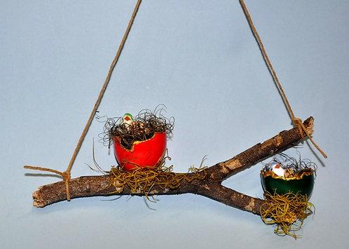 Ninhos decorativos, passarinhos em ninho, peças decorativas para jardim