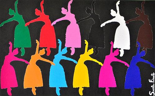Painel 12 bailarinas colagem de Sueli Finoto